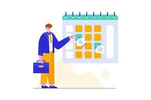 Planning schedule concept vector illustration. Project management, meeting, and financial report.