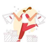 mujer feliz con bolsas de compras en sus manos y cajas durante el descuento. vector