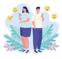 Aplicación de servicio de citas en línea con mujer y hombre con smartphone vector