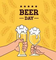 International beer day celebration with hands cheering vector