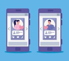 Aplicación de servicio de citas online con smartphone con perfiles sociales. vector