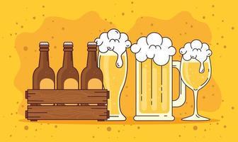 celebración del día internacional de la cerveza con jarras de cerveza, vasos y botellas vector
