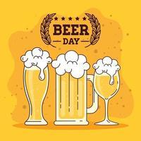 celebración del día internacional de la cerveza con vasos de cerveza