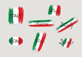 Bandera italiana con letras manuscritas de pincel de Italia vector
