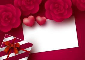 Flores rosas y tarjeta de papel blanco en blanco con corazón sobre fondo rojo para la ilustración de vector de San Valentín