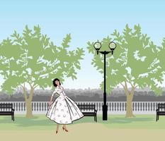 Retro fashion dressed woman 1950s 1960s style in city park landscape.