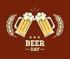 celebración del día internacional de la cerveza con jarras de cerveza