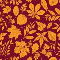 hojas de otoño con estilo de fondo. caída de patrones sin fisuras con hojas dibujadas a mano. telón de fondo de naturaleza estacional. vector