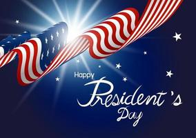 President's Day design of american flag with light on blue background vector illustration