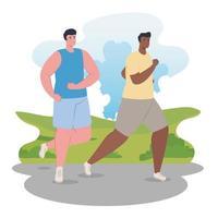 Hombres maratonistas interraciales corriendo al aire libre
