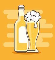 celebración del día internacional de la cerveza con vaso y botella de cerveza vector