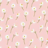 Daisy flower seamless on pink background illustration. Chamomile design great for fashion fabric, trend textile and wallpaper. vector