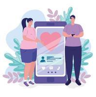 Aplicación de servicio de citas online con pareja con smartphone. vector