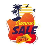 Summer sale banner with palm trees vector