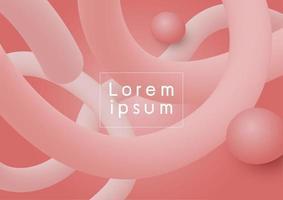 Diseño de fondo moderno abstracto de color coral fluido 3d que fluye ilustración vectorial