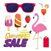 conjunto de iconos de venta de verano vector