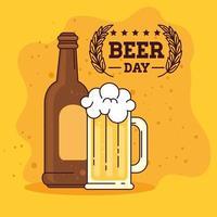 International beer day celebration with beer mug and bottle vector