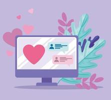 Aplicación de servicio de citas en línea con computadora con corazón. vector