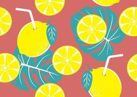 Seamless pattern of yellow lemon and tropical leaves for summer background vector illustration