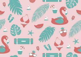 Ilustración de vector de diseño de patrones sin fisuras de verano