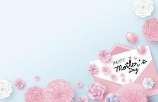 Mensaje de feliz día de la madre en papel blanco en sobre y flores con ilustración de vector de corazón