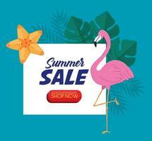 Banner de venta de verano con flamenco y hojas. vector