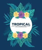 Tropical foliage background with green leaves and flowers vector