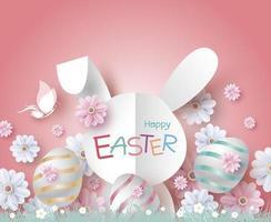 Diseño de tarjeta del día de Pascua de conejito y flores en la ilustración de vector de jardín