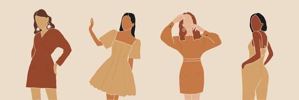 Ilustración de vector abstracto de chicas de moda en trajes neutrales. mujeres sin rostro. arte contemporáneo.