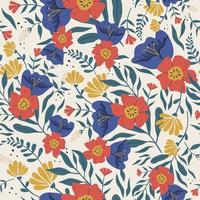 Colorful floral botanical background. Seamless pattern made of abstract various flowers with petal texture. vector