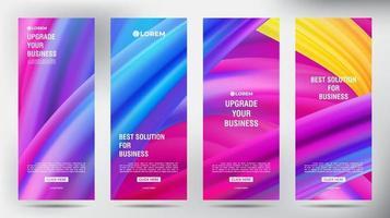 set of Modern Mesh roll up vertical banner templates vector
