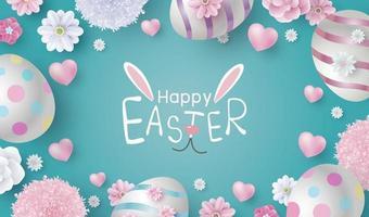 Diseño del día de pascua de huevos y flores en la ilustración de vector de fondo de papel de color