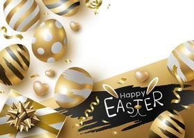 Diseño del día de pascua de huevos de oro y caja de regalo sobre fondo blanco ilustración vectorial