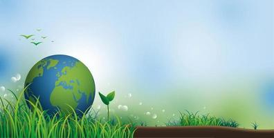 Tierra sobre césped con espacio de copia para la ilustración de vector de banner de día del medio ambiente