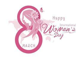8 de marzo feliz día internacional de la mujer ilustración vectorial