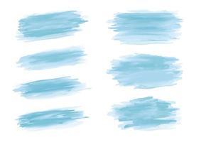 Trazo de pincel de acuarela azul sobre fondo blanco ilustración vectorial