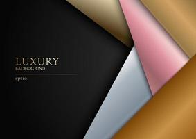 Abstract golden, silver, pink gold overlapping layer on black background modern luxury design. vector