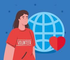 Volunteer woman with globe and heart, charity and social care donation concept