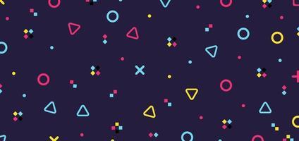 Elementos de patrón hipster geométrico colorido abstracto sobre fondo púrpura retro de los años 80 vector