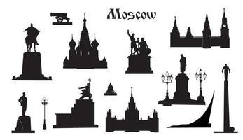 conjunto de símbolos de la ciudad de moscú. lugares y monumentos famosos rusos en moscú vector