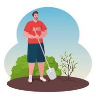 Hombre voluntario plantando un árbol, concepto de estilo de vida ecológico