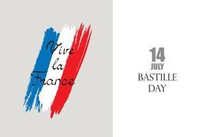 día de la bastilla francesa. bandera de francia con letras escritas a mano, 14 de julio, vive la france. vector