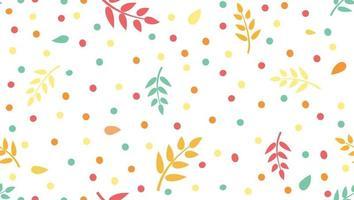 patrón floral con hojas y puntos en estilo infantil minimalista