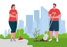 personas voluntarias plantando un árbol, concepto de estilo de vida ecológico