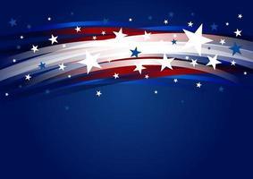 Diseño de fondo abstracto de Estados Unidos de gradiente de línea y estrella 4 de julio día de la independencia ilustración vectorial