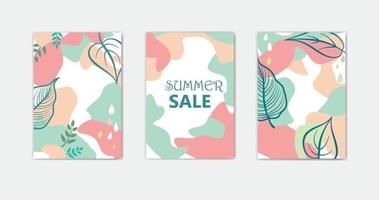 Set of abstract floral background designs for summer holiday with leaves vector