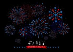 4 de julio diseño del día de la independencia de estados unidos de fuegos artificiales sobre fondo negro ilustración vectorial