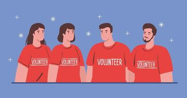 volunteer people wearing red shirts, charity and social care donation concept