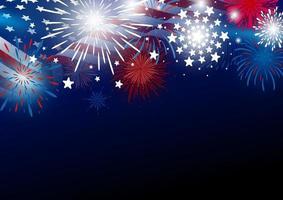 Estados Unidos 4 de julio diseño del día de la independencia de la bandera americana con fuegos artificiales ilustración vectorial