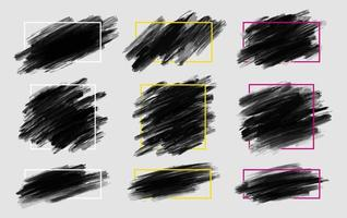 Black brush stroke with line frame on gray background vector illustration